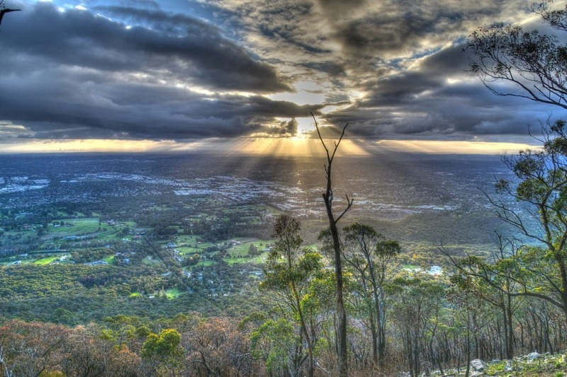 View from Dandenongs in winter