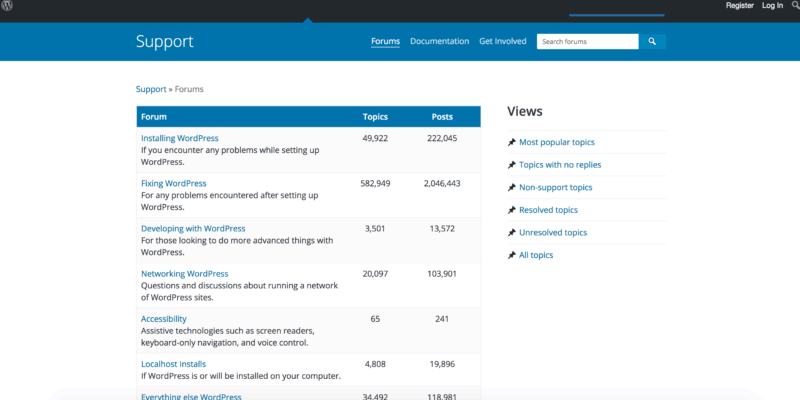 Wordpress forum screenshot