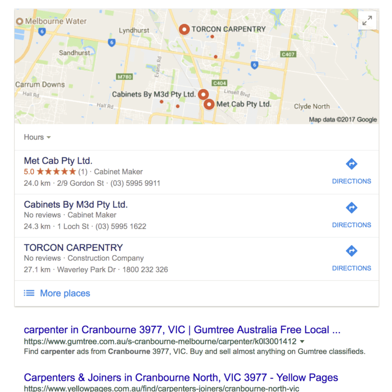 Cranbourne Google Places Box Example