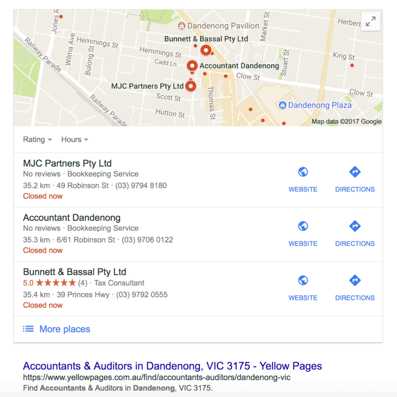 Dandenong Google Places Box example