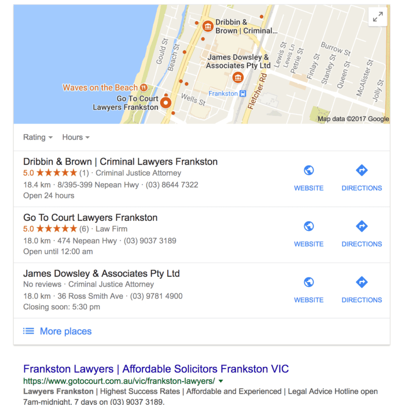 Google places box listing