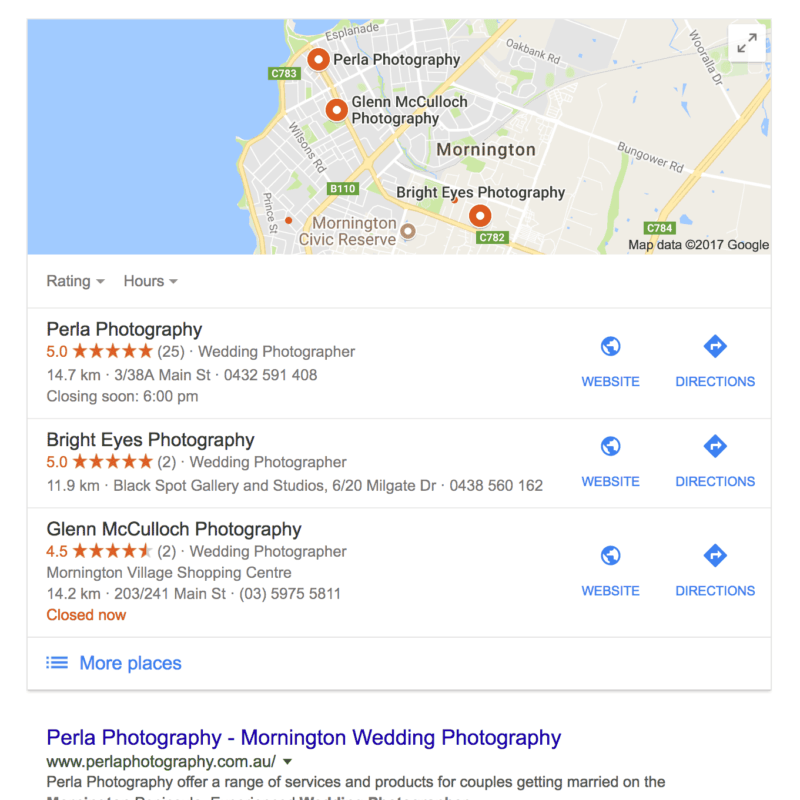 Mornington Google Places box example