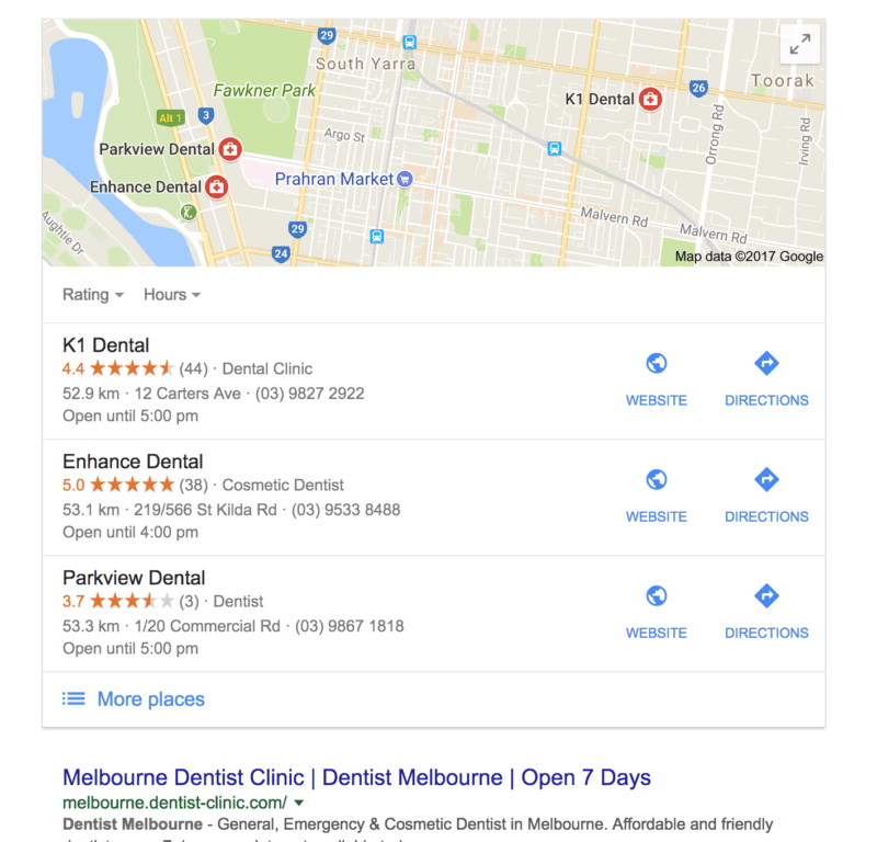 Melbourne dentist map pack