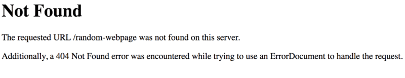404 not found default page screenshot