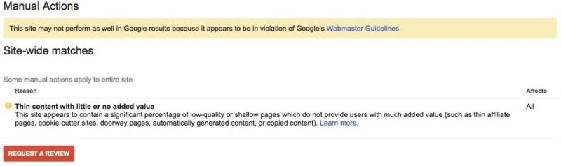 Thin content Google manual penalty warning