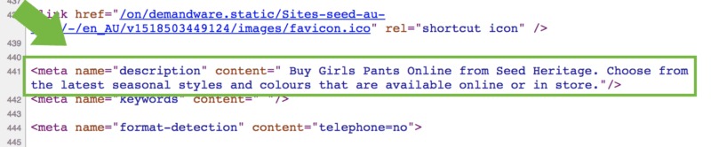 meta description code screenshot